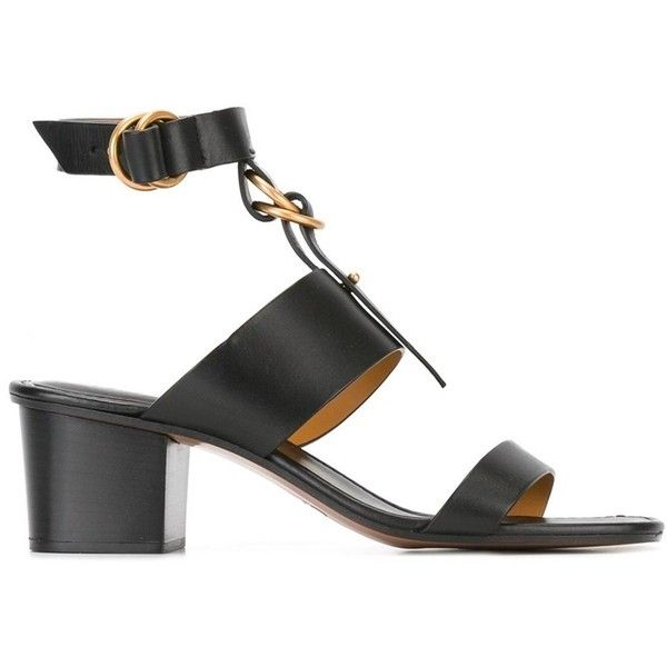 Chloé Women's Black Leather Sandals (€600) ❤ liked on Polyvore featuring shoes, sandals, black, black mid heel sandals, leather sole sandals, mid heel sandals, chloe sandals and mid heel shoes