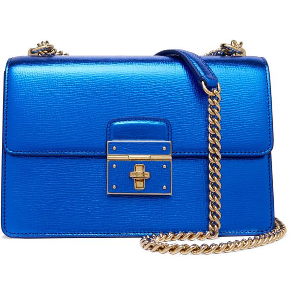Dolce & Gabbana - Textured-leather Shoulder Bag (29 225 UAH) ❤ liked on Polyvore featuring bags, handbags, shoulder bags, blue, metallic handbags, chain strap purse, shoulder bag purse, chain handle handbags and dolce gabbana purses