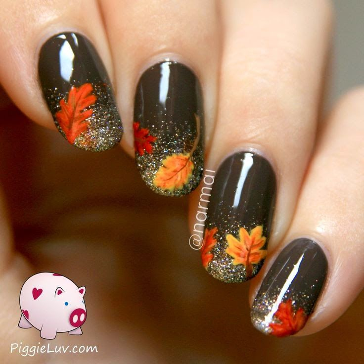 Fashion For Women: Autumn leaves on nails