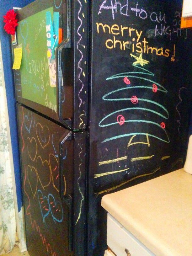 Refrigerator chalkboard...lol...maintenance loves me