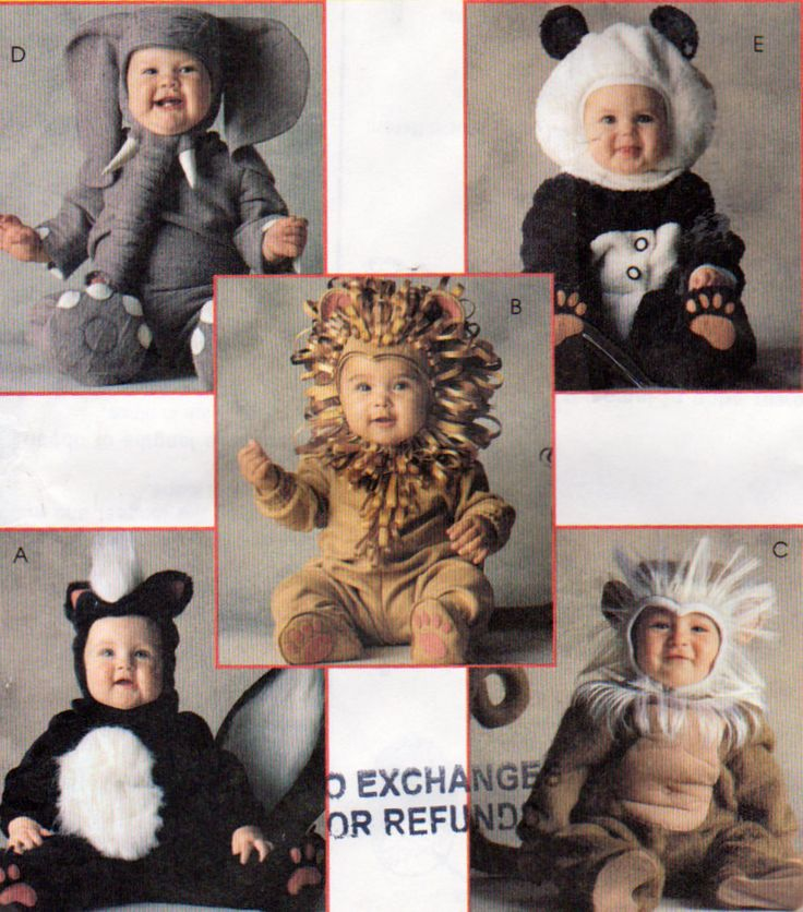 mccalls 8938 toddler baby costumes pattern monkey skunk lion and elephant - Baby Halloween Costume Patterns