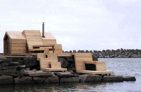 The students from The Scarcity and Creativity Studio at the Oslo School of Architecture and Design created a seaside sauna that stretches over the cliffs into the North Sea. 'The Bands' is situated in Kleivan, Norway, an abandoned fishing village north of the Polar Circle. The design and building process of the sauna is part of a conversion plan of the quay and a renovation of its existing buildings from the early 1900s: a fisherman's cottage, a cod liver oil production building and a cod…