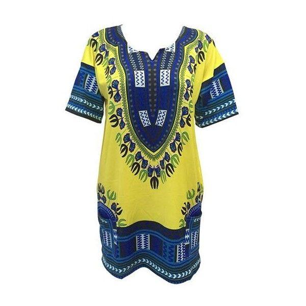 Rotita Short Sleeve Java Print Mini Dress ($19) ❤ liked on Polyvore featuring dresses, yellow, yellow mini dress, long-sleeve mini dress, yellow print dress, short-sleeve dresses and blue dress