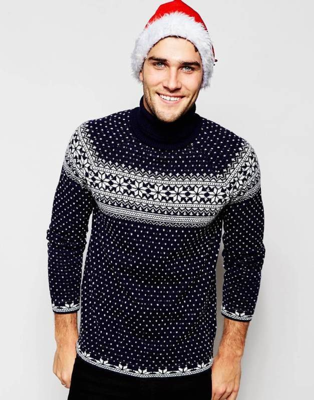 Navy Christmas Roll Neck Jumper with Snowflake Design #NoveltyXmasJumpersUK