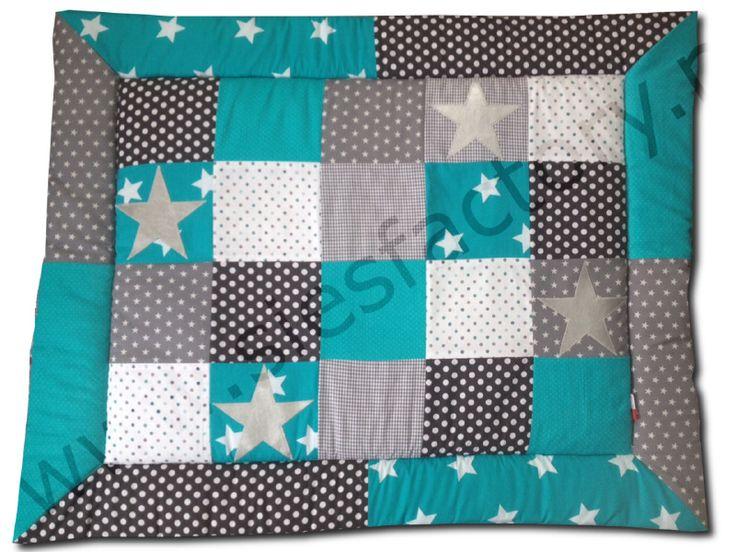 Boxkleed 80x100 turquoise/turkoise, donker grijs, grijs en wit met zilveren sterren