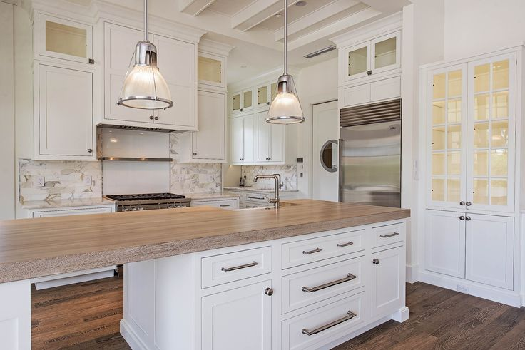 Best Finish For Butcher Block Countertop: Driftwood Finish Butcher Block Countertop.