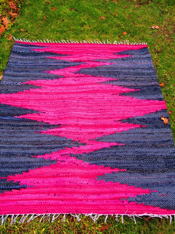 Hand woven rag rug. Bright pink and blue. Made to order so you can get different sizes and colors