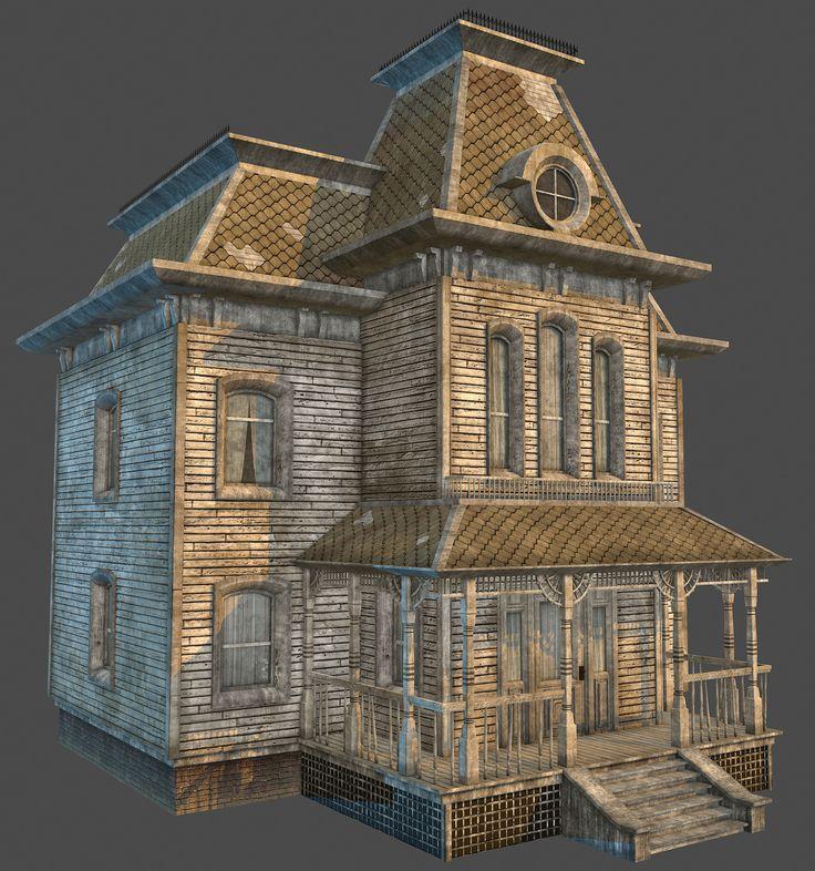 Norman Bates' House, Rhys Evans on ArtStation at https://www.artstation.com/artwork/KyneW