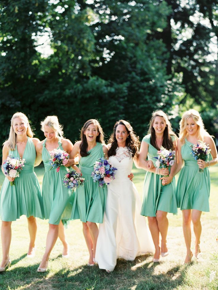 Bridesmaids - Two Birds - See more here:  http://www.StyleMePretty.com/2014/04/08/romantic-french-chateau-wedding/ Erich McVey Photography - erichmcvey.com