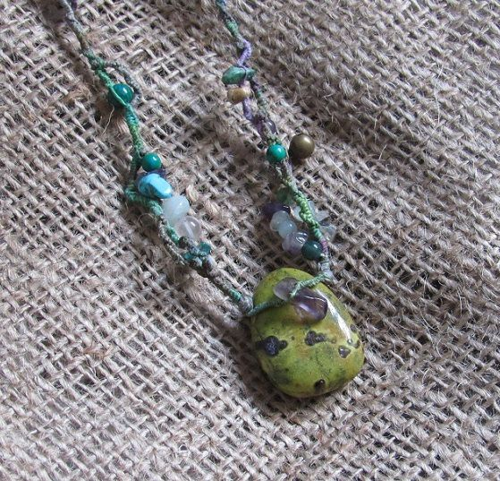Atlantisite Hand Dyed Macrame Crystal Necklace by tinkertailoruk