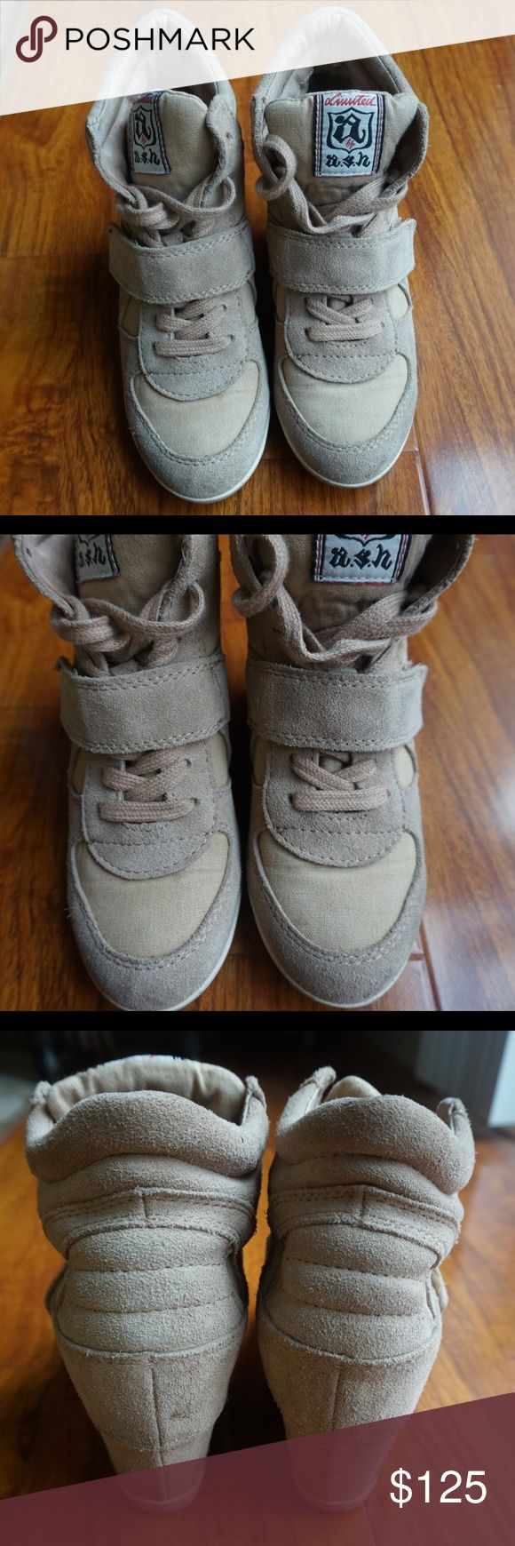 Suede Beige Wedge Sneakers by ASH Good used condition. This one is from a Limited Collection by Ash. Super cute! Comes from a pet and smoke free home. Please use offer button to make an offer. Thank you for looking. Ash Shoes Sneakers