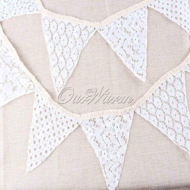 Vintage 10 Flags 2.1M rendas de algodão bandeira Bunting galhardete para festa de natal decoração suprimentos de casamento em Decoração de festa de Casa & jardim no AliExpress.com | Alibaba Group