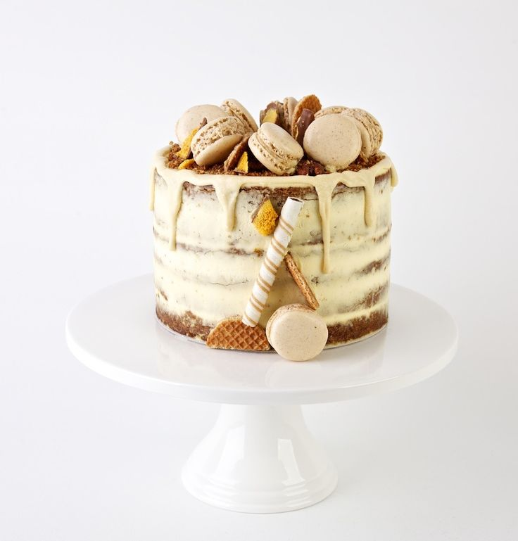 CARROT AND PECAN Layer Cake with Pecan Praline and Cream Cheese Frosting and Pecan Macarons