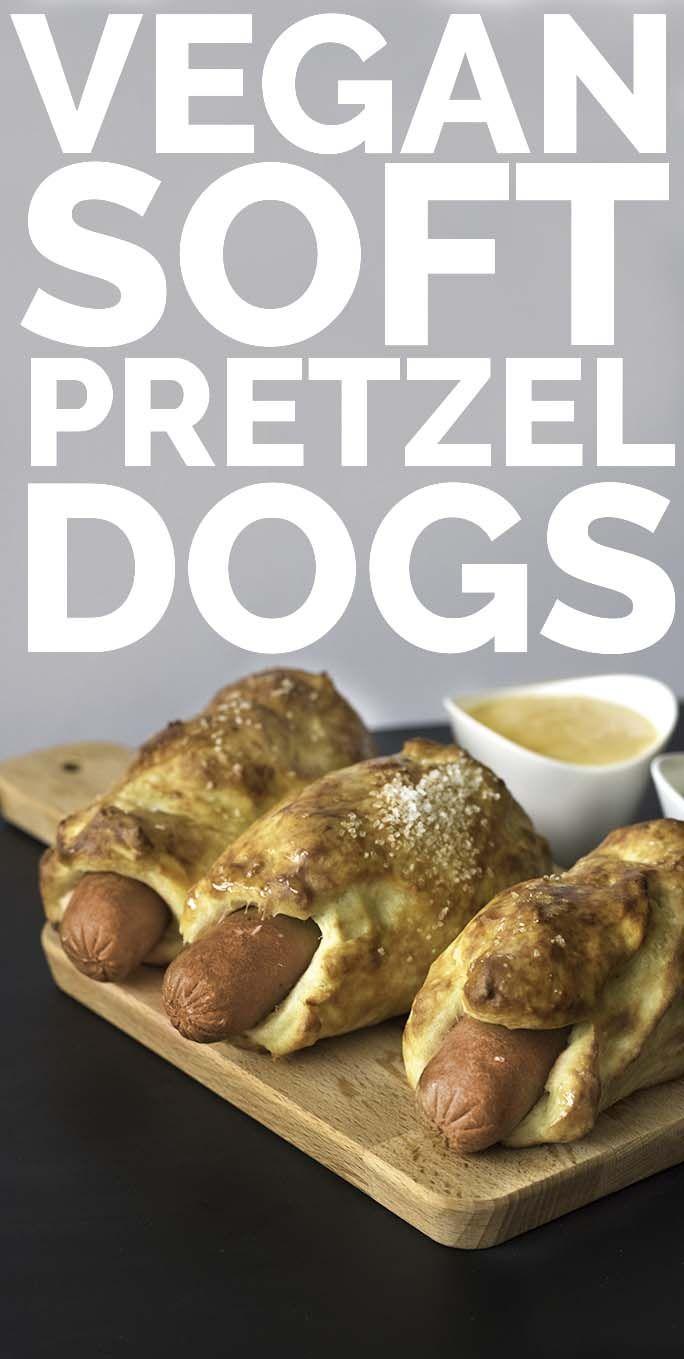 Fluffy Soft #VEGAN Pretzel Dogs with Nacho Cashew Cheese Sauce and Spicy Ground Mustard - verdantcityfood.com