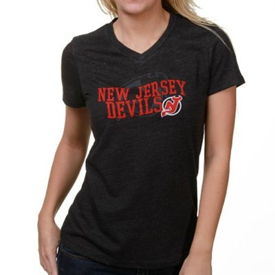 Touch by Alyssa Milano New Jersey Devils Ladies Charcoal V-neck Tri-Blend T-shirt