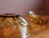 Pair of Vintage Amber Cut Glass Bowls