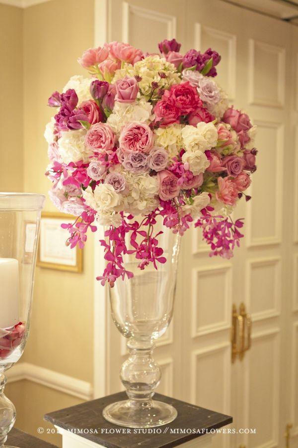 Altar arrangement or large arrangement for church- Pink, Light pink & Lavender- Flowers in Grand Georgian Ballroom at Queen's Landing - Mimosa Flowers Always Fabulous !!