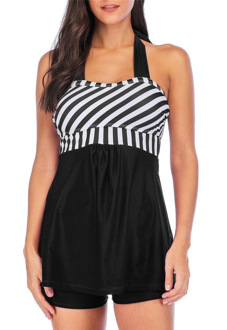 WoWPlus Tankini Swimsuits for Women with Shorts Plus Size Swimwear Two Piece Halter Swimdress... 2