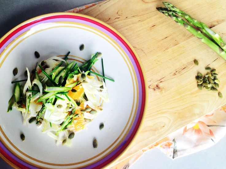 Perfect pairing to grilled chicken or salmon, citrus salad of asparagus and fennel topped with pepitas. Raw, healthy, interesting and easy summer recipe. Guten free, dairy free, healthy ingredients . For this fast, easy recipe and more click http://www.eatraiselove.com/eat/citrus-salad-asparagus-fennel/