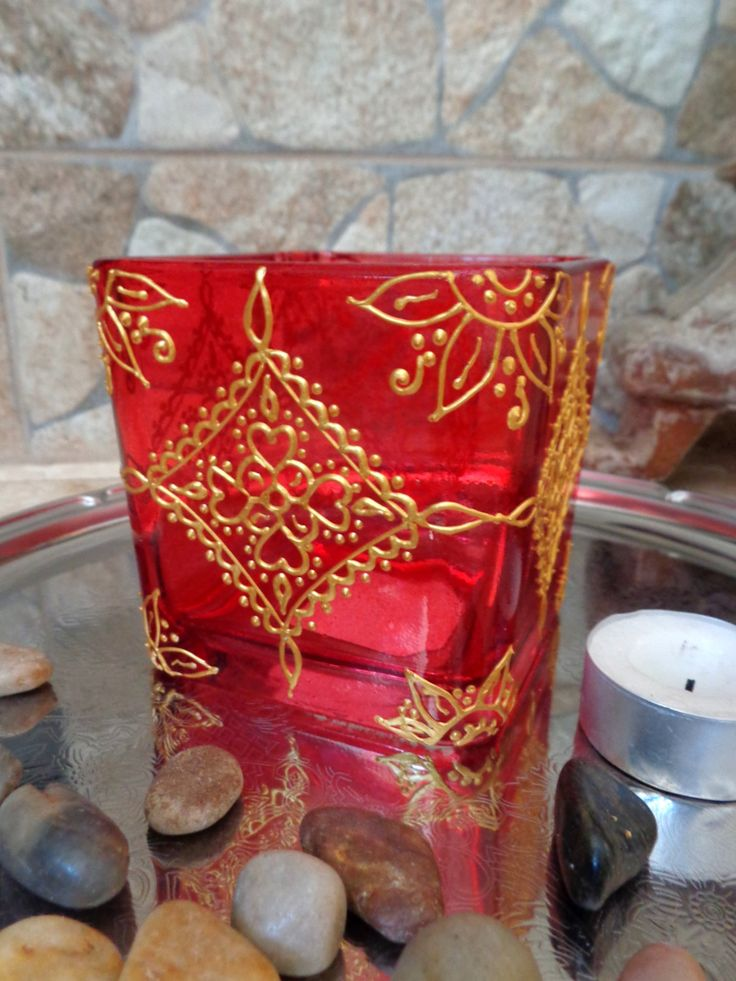 Glass Candle holder/ tea light/ vase. Gold on red. by OrdinaryWWonders on Etsy