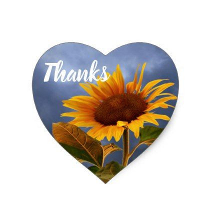 Yellow Sunflower Thank You Blue Floral Heart Heart Sticker - wedding thank you gifts cards stamps postcards marriage thankyou