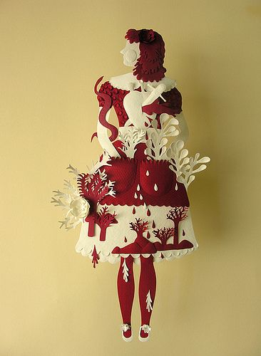 Paper Sculpture (Red and White) by Elsita (Elsa Mora)