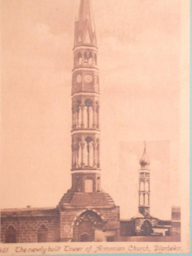 1901 Diyarbakır'da minareden yüksek diye yıkılmış kilise kulesi.