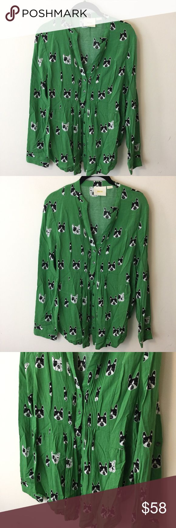Maeve Green New York Terrier Dog Puppy Shirt Maeve New York Terrier Shirt with a cute puppy print and a button center is a size. 12 worn twice and is in good condition! Anthropologie Tops