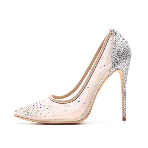 00cacf899a184 Miluoro Rhinestone Women Pointed Toe Heels Crystal Bling Silver ...