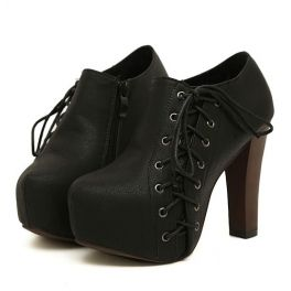 Black Thick heel zipper ankle boot  (In 2 Colors)