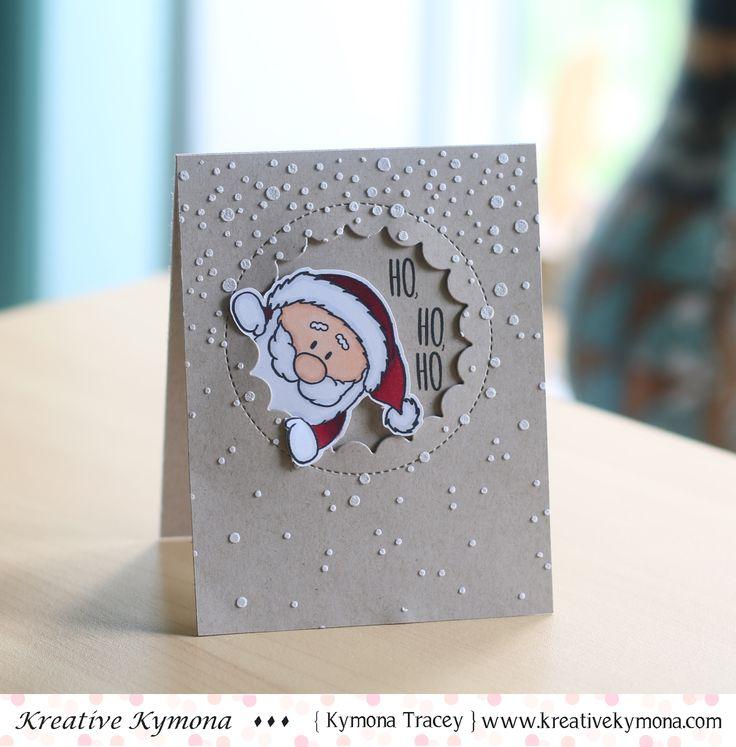 HO, HO, HO was created with Gerda Steiner Designs Peeking Friends stamp set, My Favorite things Jumbo Peek-a-Boo Die, Simon Says Stamp Falling Snow Die and Wendy Vecchi Embossing Paste.