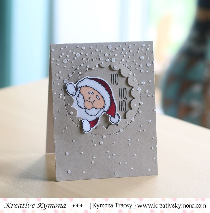 HO, HO, HO was created with Gerda Steiner Designs Peeking Friends stamp set, My Favorite things Jumbo Peek-a-Boo Die, Simon Says Stamp Falling Snow Die and Wendy Vecchi Embossing Paste.