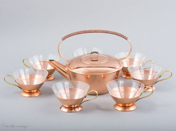 Mid Century Copper Tea Set of 1 Teapot & 7 Tea Cups Its five oclock, dear – its tea time! And very stylishly so! From this fabulous tea pot and