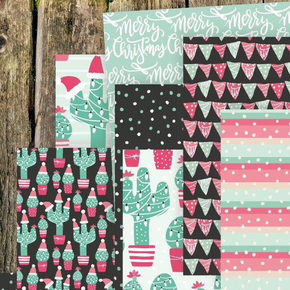 Check this new not-so-traditional Christmas digital papers and clipart!