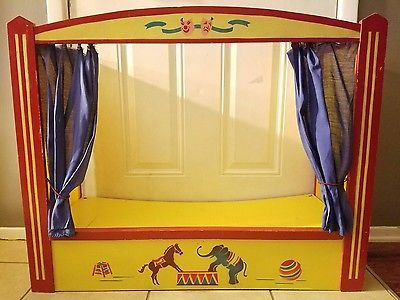 Vintage Puppet Stage Theater Wood Circus Daycare School Imagination Prop