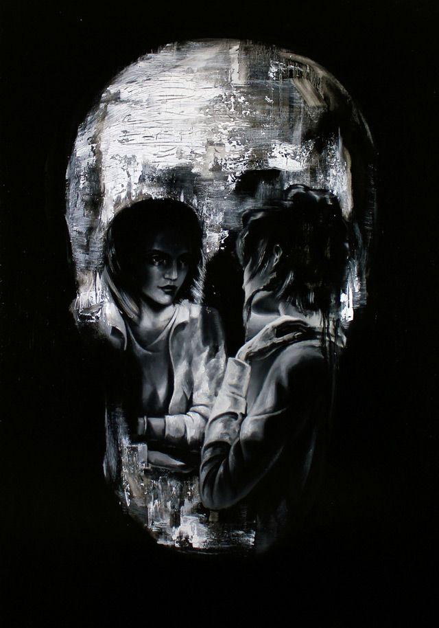 Optical Illusion Skull Portraits by Tom French: Skulls, Skull Illusions, Illusions Skull, Optical Illusions, Toms French, Illustration, Tomfrench, Skull Portraits, Skull Art