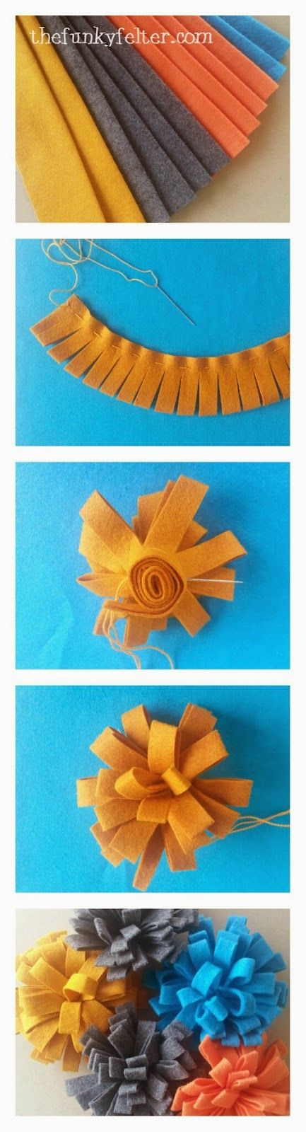 felt flower craft tutorial -- a cheap & super easy way to dress up a wreath or other home decorating...use hot glue if you aren't into stitching :)