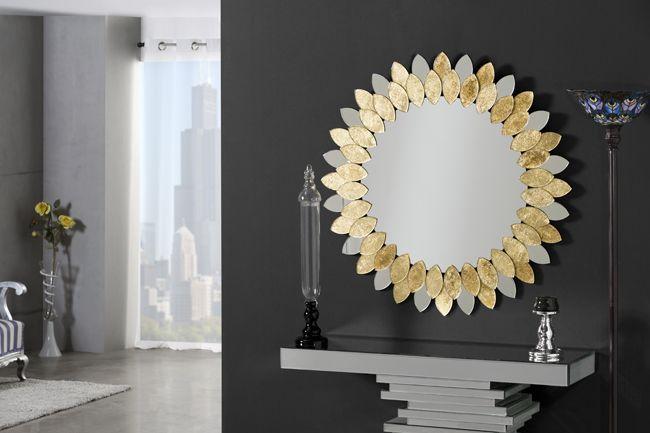 espejos forma sol, espejos en dorado, espejos para salon, espejos para dormitorios, espejos para recibidores, espejos cristal con oro,…