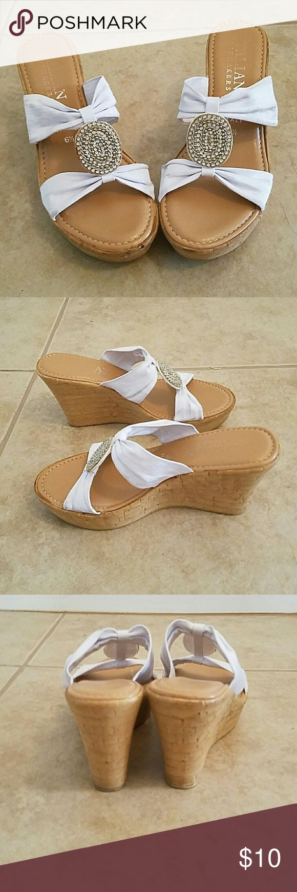 White wedge shoes Italian Shoemakers wedge shoe with cute beaded details on front Italian Shoemakers  Shoes Wedges