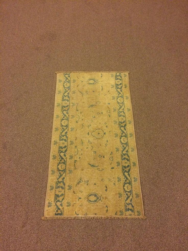 1.9x3.2 Feet Turquoise And Beige Doormat Door Mat Welcome Mat Beige Vintage Carpet Beige Rug Handmade Carpet Handmade Rug Carpet In Handmade Code:V579. It is %100 handmade carpet runner.All colours are natural dyed. Size:1.9x3.2 feet 51x96 cm Material:wool on cotton Code:V579 Fast Worldwide Shipment in 1-3 business days after the order and it may take an additional 3-5 days for delivery. All items are shipped by Fedex and Ups.Please note that light effect, monitor's brightness, contrast…