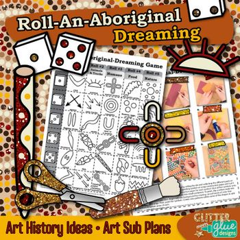 Aboriginal Art History Game: Get your students excited about learning art history and NAIDOC Week in Australia by creating an Aboriginal dreaming painting. Fill up your art sub plan folder with no-prep, fuss-free art projects that are easy to implement for substitute teachers.