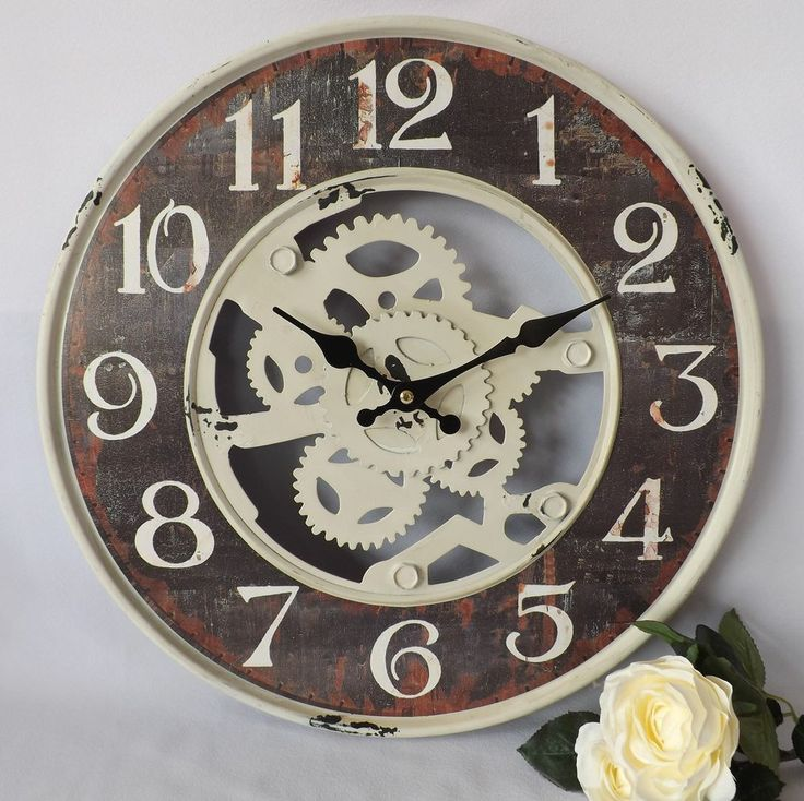 Shabby Retro Vintage Chic Skeleton Cog Metal Tin Large Wall Clock Cream Brown Time Will Tell Pinterest Tins Clocks And