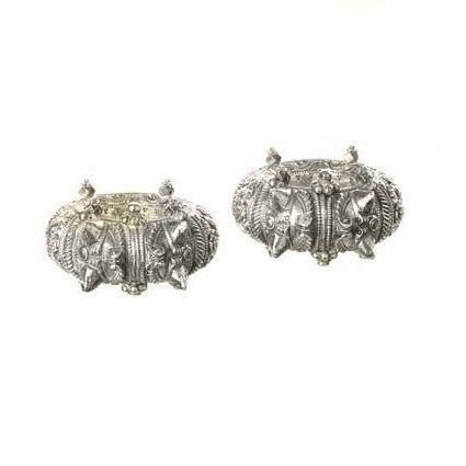 A pair of 19th century silver ankle cuffs, Gujarat, India