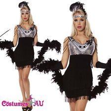 Black 1920s Flapper Charleston Fancy Dress Costume Cigarette Holder Necklace Boa