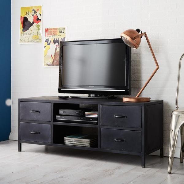 instrument METAL TV unit - W130 x D44 x H50 cm - 100% reclaimed metal - 4 Drawers - 2 Shelves - Eco friendly