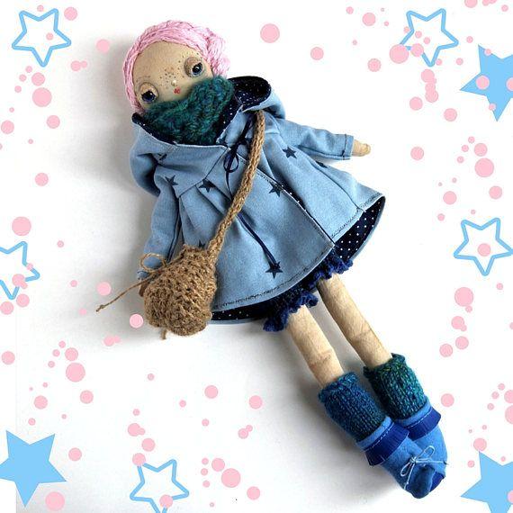 Chloe, a one of a kind handmade  cloth doll
