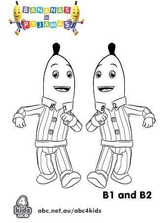 Bananas in Pyjamas - Print and Colour - ABC4Kids