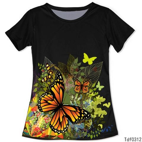High Quality Summer T Shirt Butterfly Printed Woman 3D t-shirts Style Tee Shirts - Hespirides Gifts - 1