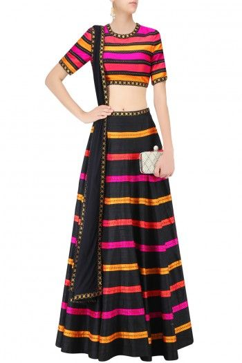 Multicolor Raw Silk Striped Sequinned Lehenga Set  #Lehenga #Multicolor #RawSilk…
