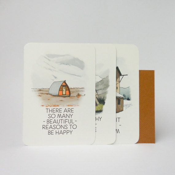 Set of 3 illustated tiny house postcards with qoute